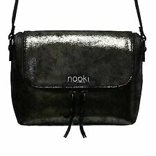 Nooki designer satchel nicole bag luxury black metallic genuine crackle leather