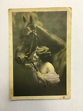 VINTAGE ANTIQUE NUDE WOMAN EROTIC GIRL WITH HORSE POSTCARD