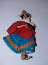 "Vintage International Cloth and Wire Woman Doll in Dress from Bolivia - 8"" Tall"