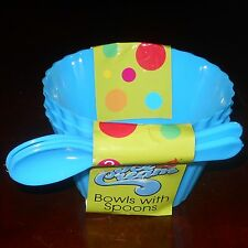 6 ICE CREAM BOWL & SPOON 3-Pk BLUE NEW Fast FREE US S&H