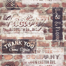 NEW YORK GRAFFITI RED BROWN BRICK WALL EFFECT WALLPAPER 238600 RASCH