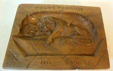 Vtg LION of Lucerne Wood Carving Plaque 1792 Switzerland Swiss Guards