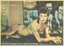 DAVID BOWIE DIAMOND DOGS PRESS ADVERT LAMINATED A4 MINI POSTER REPRO