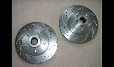 Mustang II Slotted Cross Drilled Coated Brake Rotors FORD 5 x 4.5 Front R & L
