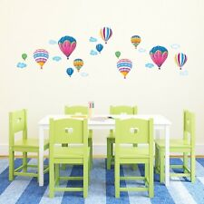 Ballons à air chaud 7 avec nuages multicolore kids baby wall decal stickers