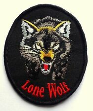 LONE WOLF - SEW ON BIKER MOTORCYCLE PATCH 90mm by 75mm