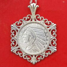 1929 Incuse Indian Head 1/10 oz. .999 Fine Silver Round Sterling Silver Necklace
