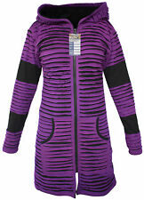 Hippie Black Purple Pointed Hoody Elf Long Ribbed Goth Punk Emo Over Coat