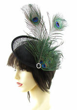 Large Black Saucer Disc Fascinator Peacock Feather Green Hat Races Sinamay 948