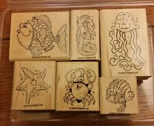 Stampin' Up FISHY FRIENDS Set 6 Rubber Stamps Lot Seahorse Fish Jellyfish