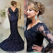 Royal Blue Lace Mother Of The Bride/Groom Dress Guest Evening Gowns Long Sleeve