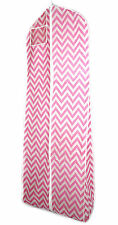 Pink White Chevron Breathable Wedding Gown Prom Dress Garment Bag Extra Long