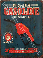 American Retro Garage Gasoline Nozzle Gas Filling Station, Large Metal/Tin Sign