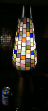 "Huge Retro 1970/80s Stained Glass Mosiac Table Floor Lamp 26.5"" Tall"