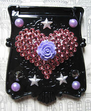 HEART MAKEUP MIRROR PURSE HEART ROSE BLACK GOTHIC KAWAII DECODEN DECO DEN