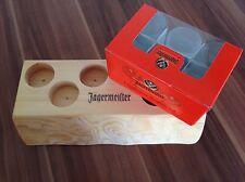 6x JÄGERMEISTER 2cl Shot Glas Gläser + Holztablett Schnaps Stamper NEU OVP