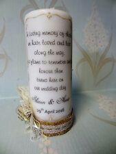 Wedding Memorial Candle/ Personalised/ celebration/ ribbon colour paper/ flowers