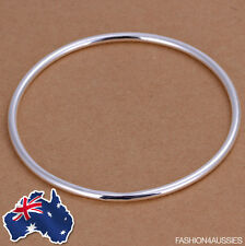 925 Sterling Silver ~ Solid Thin Bangle ~ Classic Women's 2MM Round Bracelet