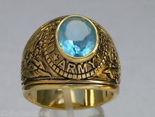 12X10 mm United States Army Military March Aqua Marine Birthstone Men Ring 9