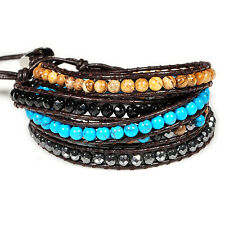 women natural turquoise hematite stone genuine leather 5 wrap beads men bracelet