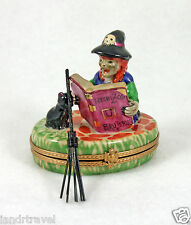 NEW FRENCH LIMOGES TRINKET BOX HALLOWEEN WITCH W BLACK CAT & MAGIC SPELLS BOOK
