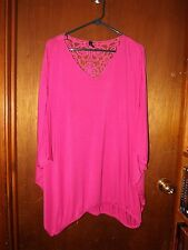 Lane Bryant Lace Yoke Back Dolman Shirt Top Blouse - Size 26/28 - Fuschia