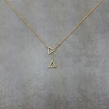 Double Triangle Gold Plated Necklace Gift Angle Drop Geometry Collar Jewelry