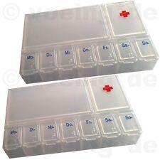 2x Medikamenten-Dosierer Pillendose Tablettendose Tablettenbox mit 7 Tageansicht