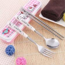 3pcs/sets New Japan Cartoon Hello kitty Stainless Steel Tableware Children Gift