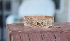 Antique Victorian 1800's Gold Fill/Plate Etched Wide Slider Bracelet 11 grams