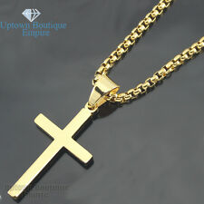 "20-30"" men stainless steel gold Silver Plain cross pendant BOX Necklace Chain #2"