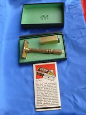 Pre WW2 1 PC New GEM MICROMATIK SAFETY RAZOR w Orig Box + Blades + Instructions