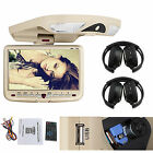 Headphones+BEIGE9'' Overhead Flip Down Car DVD Player Game TV Monitor Roof Mount