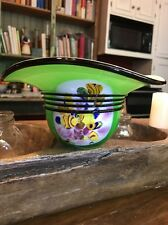 "Murano Millefiori Hand Blown Glass Large Green Floral Bowl Hat Vase 3""x7"""