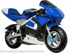 MotoTec Gas Pocket Bike - Ride On - Blue