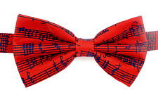 Red Music Bow Tie with Black Manuscript - Music Themed Gift - Musical Bow Tie