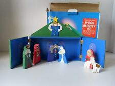 Nativity Set  Wooden Figurines + Stable Storage Box Christmas Child Friendly