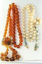 TWO VINTAGE MIRIAM HASKELL NECKLACES PEARLS AMBER COLOR GLASS BEADS AS IS PARTS