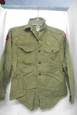 Boy scout olive green long sleeve shirt sz 13 1/2 neck youth lots of patches