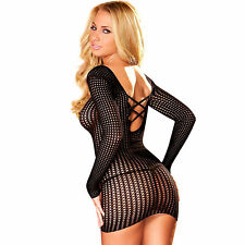 SEXY MICRO MINI ABITO LINGERIE NERO TOP TRAFORATO CLUB WEAR BLACK HUSTLER DRESS