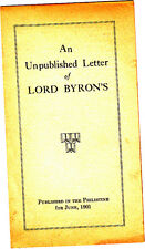 An Unpublished Letter of Lord Byron's Small Brochure