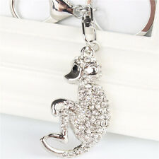 Silver Monkey Crystal Pendant Charm Purse Bag Car Key Chain Accessories Gift