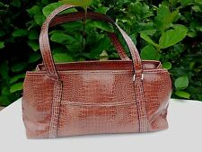 Liz Claiborne Brown Patent Faux Croc Satchel Bag Large Shoulder Bag  Purse