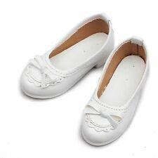 122# White 1/3 SD DOD BJD Dollfie Mid Heeled Bowite Synthetic Leather Shoes