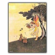 FAIRY & RABBITS - METAL SIGN WALL PLAQUE nursery kids childrens playroom bedroom