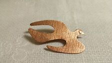 Vintage Textured Solid Copper Peace Dove Brooch Pin