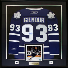 Doug Gilmour Toronto Maple Leafs signed blue jersey frame