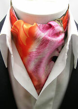 New Modern Day Silk Ascot Cravat Tie Multi Orange Pink Extra Long