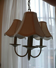 Cafe Style Ceiling Dining Room Pendant 3 Light Cream Linen Shades Transitional
