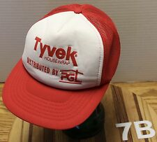 VINTAGE TYVEK HOUSEWRAP DISTRIBUTED BY PGL TRUCKERS STYLE HAT SNAPBACK RED/WHITE